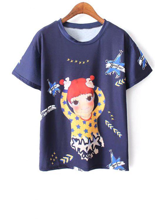 Cartoon Imprimer T-shirt bleu - Bleu L