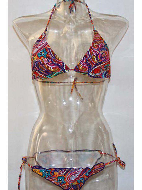 Printed Halter Bikini String Set - Multicolore M