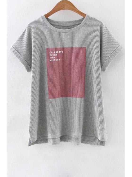 women's Letter Print Gray T-Shirt - GRAY S