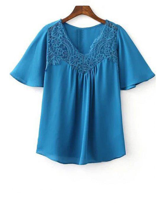 Dentelle Splice col V à manches courtes T-shirt - Bleu L