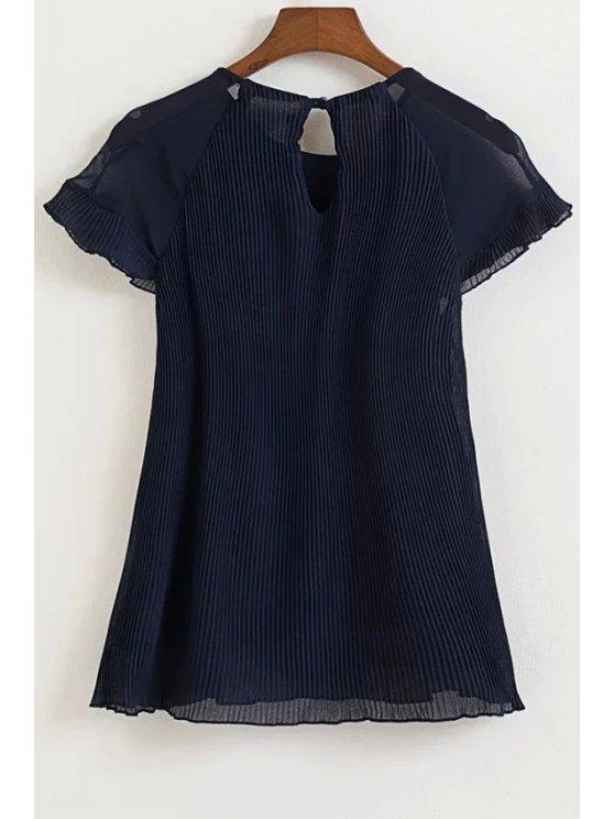 outfit Pleated Round Neck Short Sleeve Chiffon Blouse - CADETBLUE L