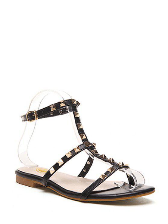trendy Rivet T-Strap Flat Heel Sandals - BLACK 38