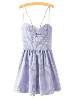 Fitting Lace-Up Spaghetti Straps Sleeveless Dress - Blue M