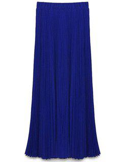 Solid Color High Waist A-Line Chiffon Skirt - Blue S