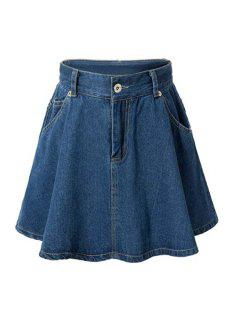 High-Waisted A-Line Denim Skirt - Deep Blue Xl