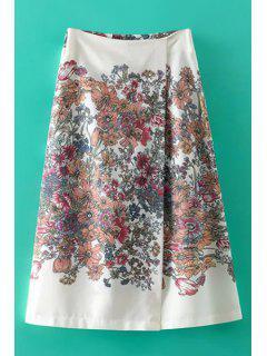 Floral Print Culotte - Off-white L