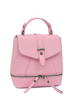 Zips Solid Color PU Leather Satchel - Pink