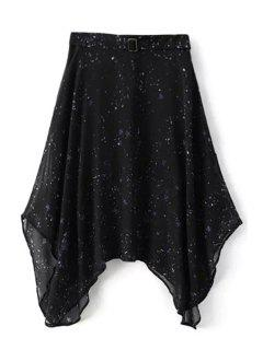 Starry Night Irregular Skirt - Black Xl