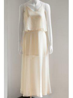 Flouncing Spaghetti Straps Solid Color Maxi Dress - Off-white L