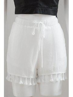 Drawstring Solid Color Tassels Spliced Shorts - White L