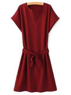 Robe Ceinturée à Manches Courtes En Couleur Solide  - Rouge Vineux  L