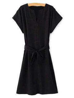 Short Sleeve Belted Solid Color Dress - Black S