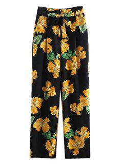 Printed Wide Leg Palazzo Pants - Black M