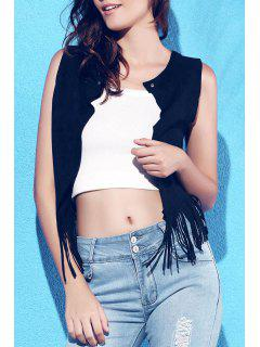 Suede Round Collar Tassels Spliced Tank Top - Black L