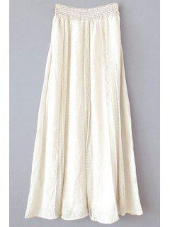 Cut Out Lace Spliced High Waist A-Line Skirt - Off-white L