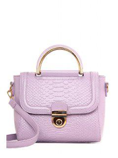 Metallic Crocodile Print PU Leather Tote Bag - Light Purple