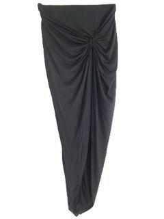Fitted Asymmetric Folded High Waist Skirt - Black M