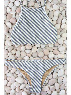 Diagonal Stripe Bikini Set - Grey And White L