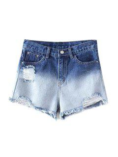 Ombre Ripped Bleach Wash Mid-Waist Denim Shorts - Blue Xl
