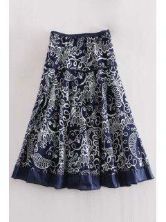 A Line Printed Midi Skirt - Purplish Blue