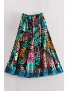 Printed Midi A Line Skirt - Lake Blue