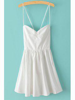 Color Sólido Con Cordones De Espagueti Vestido Sin Mangas De Las Correas - Blanco L