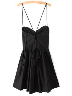 Solid Color Lace-Up Spaghetti Straps Sleeveless Dress - Black L