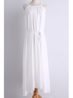 Belted Maxi Chiffon Dress - White L