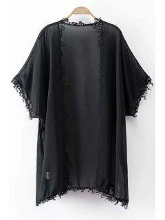 Fringes Batwing Sleeve Solid Color Blouse - Black L