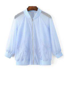 Bird Embroidered Sunscreen Jacket - Light Blue L
