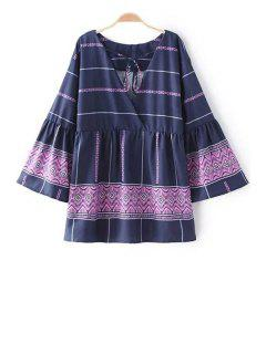 Cross-Over Frilled Bell Sleeve Top - Purple S