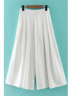 Hip Pockets Solid Color Culotte - White L