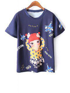 Cartoon Print Blue T-Shirt - Blue L