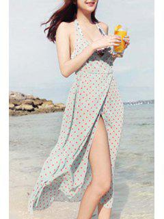 Backless Plunging Neck High Slit Polka Dot Cover Up - Light Blue