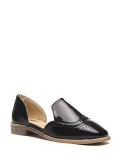 Engraving Solid Color Patent Leather Flat Shoes - Black 39
