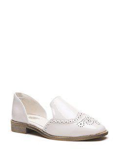 Grabado En Color Sólido Charol Zapatos Planos - Blanco 39