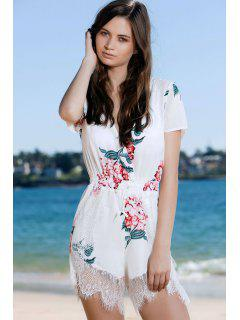 Plunging Neck Short Sleeve Floral Print Romper - White L