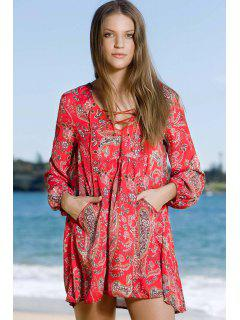 Ethnic Style Print Long Sleeve V Neck Dress - Red L