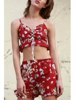 Floral Cami Crop Top And Wide Leg Shorts Suit - Wine Red L