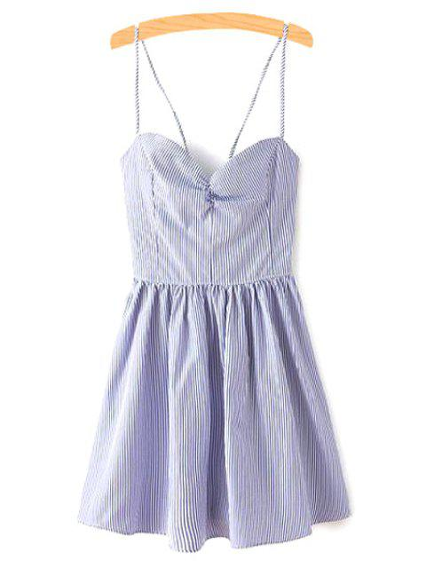 women Fitting Lace-Up Spaghetti Straps Sleeveless Dress - BLUE L Mobile