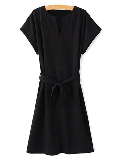 best Short Sleeve Belted Solid Color Dress - BLACK S Mobile