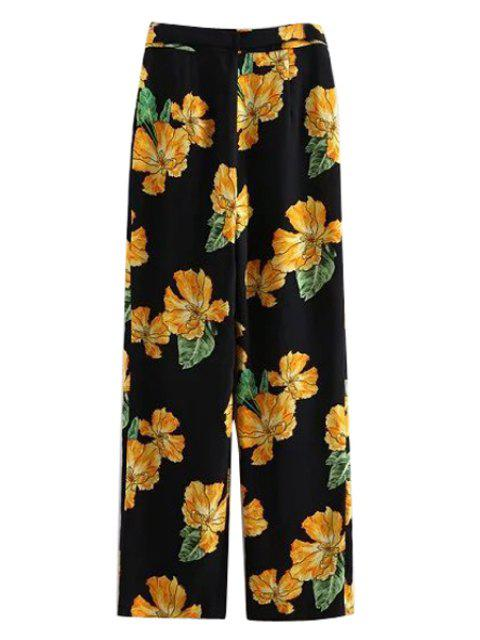 affordable Printed Wide Leg Palazzo Pants - BLACK L Mobile