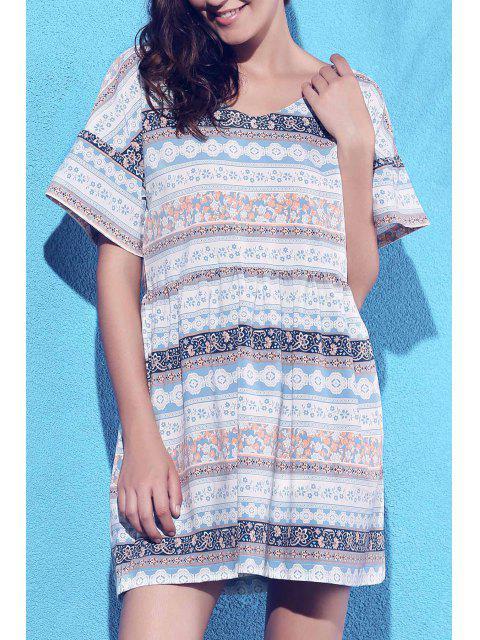 chic Printed V-Neck Short Sleeve Dress - COLORMIX S Mobile