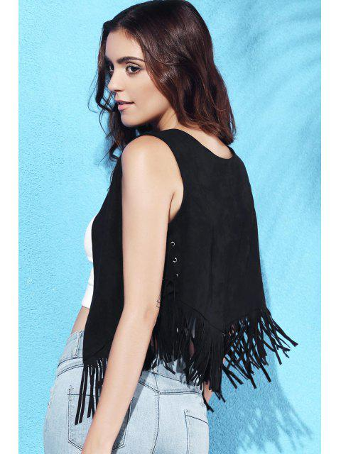 fashion Suede Round Collar Tassels Spliced Tank Top - BLACK L Mobile