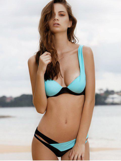 women's Color Block Strappy Padded Bikini Swimwear - LAKE BLUE S Mobile