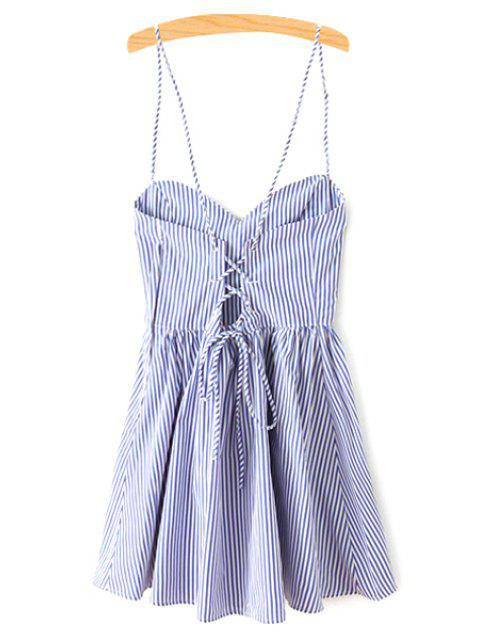 unique Fitting Striped Spaghetti Straps Sleeveless Dress - BLUE M Mobile