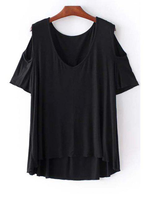 Kalte Schulter Rundhalsausschnitt-Solid Color T-Shirt - Schwarz S Mobile