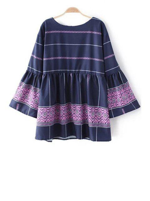 fashion Cross-Over Frilled Bell Sleeve Top - PURPLE S Mobile
