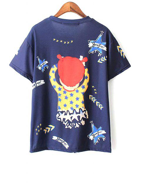 Cartoon Imprimer T-shirt bleu - Bleu L Mobile