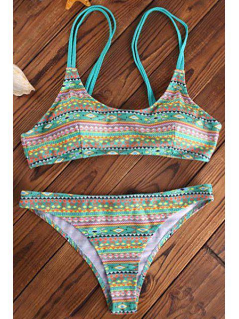 women's Elastic Spaghetti Strap Geometric Print Bikini Set - LIGHT GREEN L Mobile